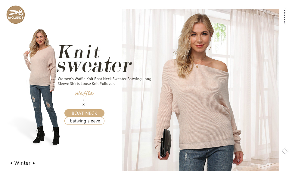 Women's Waffle Knit Boat Neck Sweater Batwing Long Sleeve Shirts Loose Knit Pullover