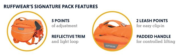 5 points of adjustment, reflective trim and light loop, 2 leash points, padded handle