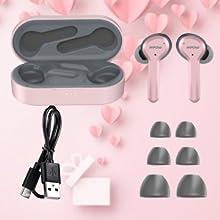wireless earbuds in ear women girl mini pink in-ear