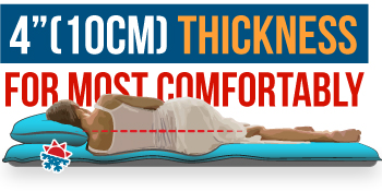 """4"""" thickness for most comfortably"""