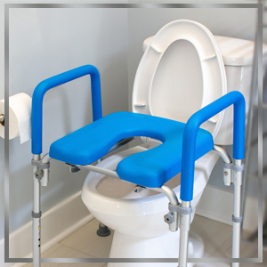 ultimate raised toilet seat positioned over standard toilet