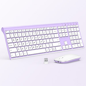 full size ultra slim rechargeable wireless keyboard mouse white purple 12303 (2)