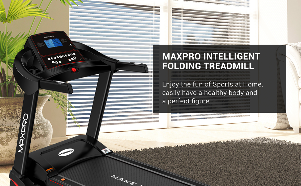 MAXPRO PTA460 5 HP Peak Motorized Folding Treadmill with Auto Incline, Auto Lubrication Fitness Machine