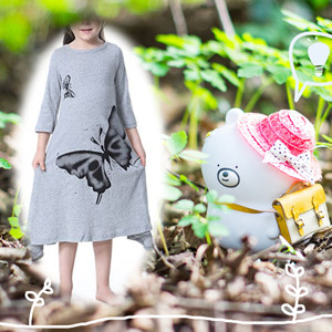 Gray fashion toddler dress