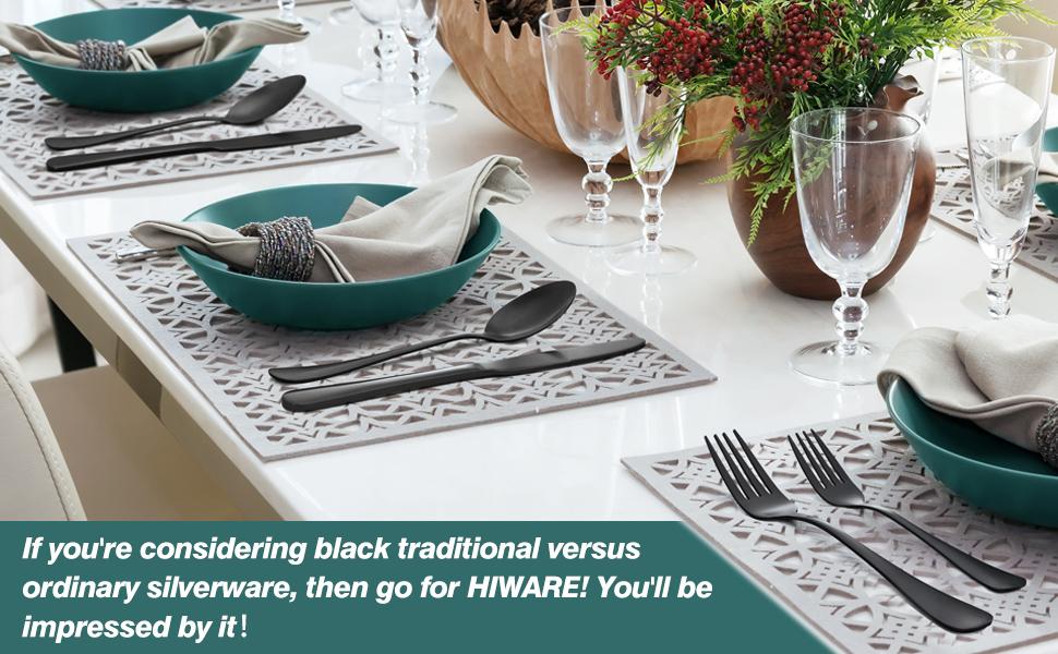 black silverware set