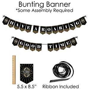 Roaring 20's Party Supplies - Banner Decoration Kit - Doterrific Bundle