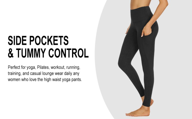 side pockets tummy control for yoga, workout, running, exercise, fitness, weightlifting, running