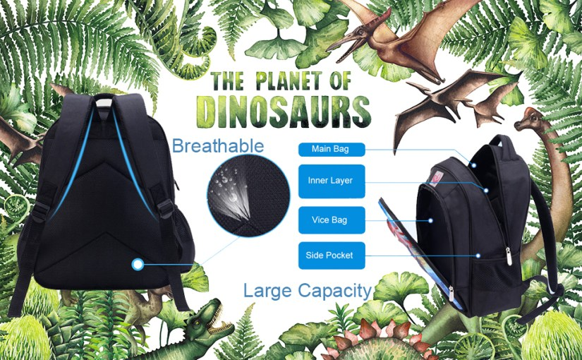 Dinosaur Backpack Set Includes One School Bag One Lunch Bag One Pencil Bag