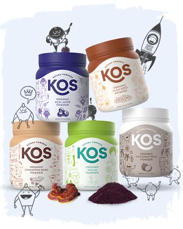 kos plant based superfoods acai beet root coconut milk spirulina wheatgrass ashwagandha reishi lions