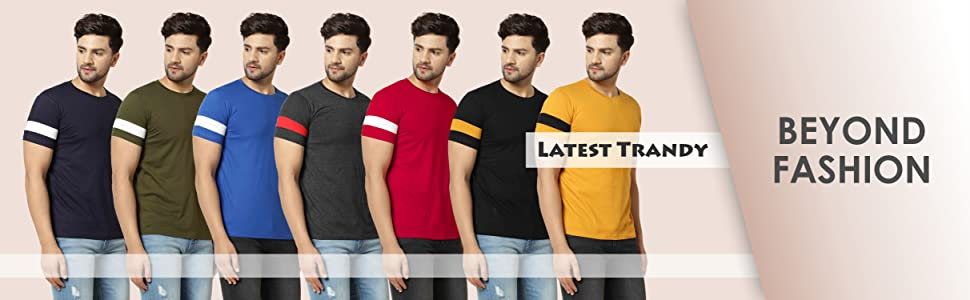 Round Neck with Stripe on Arms Multicolor T-Shirts