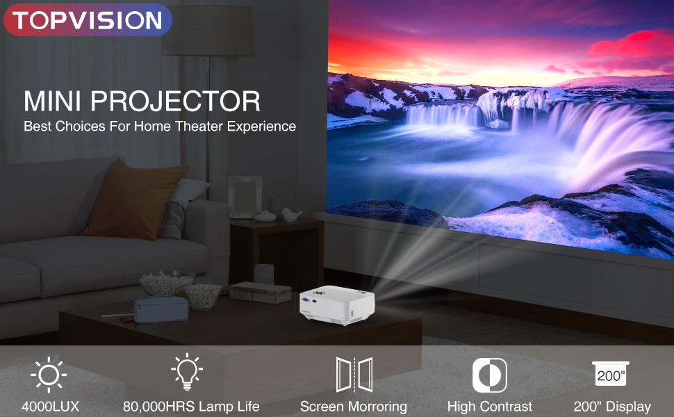 TOPVISION smart projector with mirror display offers a top home cinema experience.