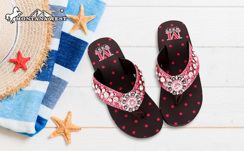 Flip Flops Western Embroidered Rhinestones Studded Comfort Platform Wedge Sandals Black for Women