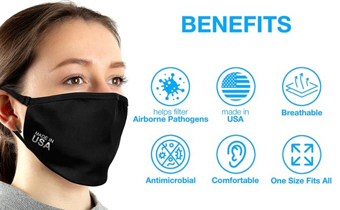USA Black Cotton Cloth Face Mask Reusable Washable Breathable Comfortable Antimicrobial Benefits