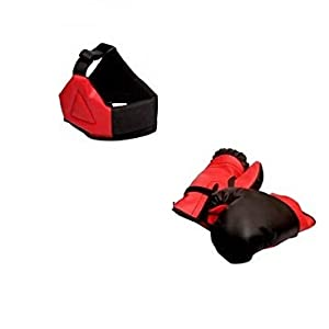 Toyshine Dixon Kids Polyester Boxing Kit with Gloves and Head Guard, Medium (30 Inches) Red