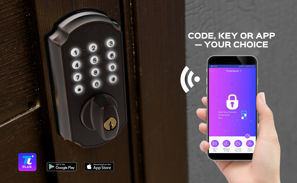 Download the TURBOLOCK PLUS app on iOS or Android and unlock even more ways to manage your security