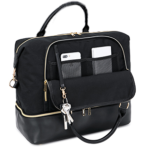 weekender bag power bank phone pocket keys wallet
