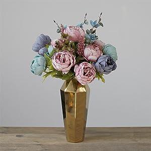 artificial blue peony flowers arrangements