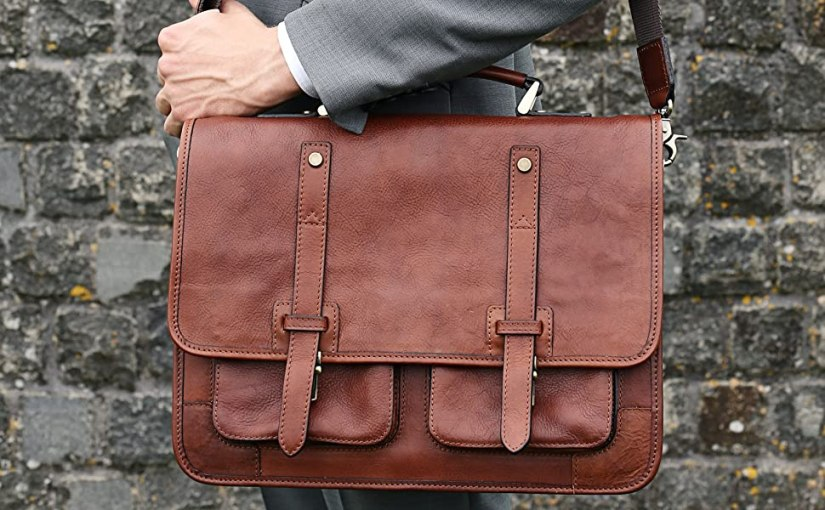 briefcase Leather work business a4 portfolio bag leather vintage satchel sack portfolio messenger