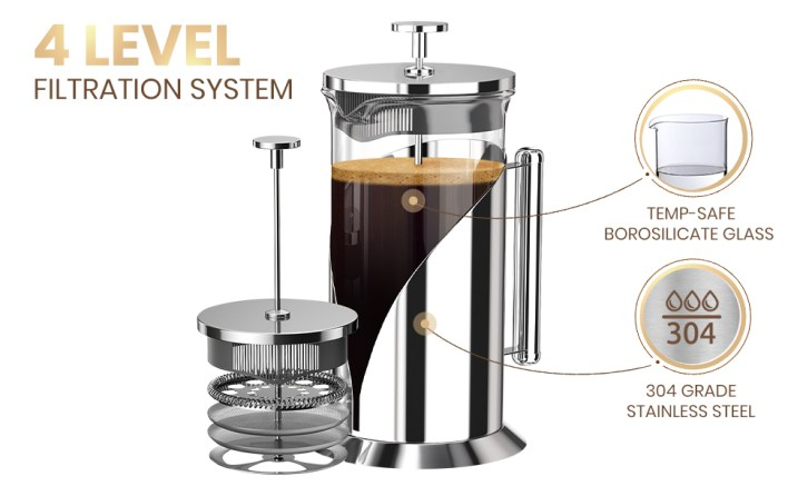 Stainless steel french press with icons showing filtration system
