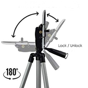 camera mobile phone tripod selfie stand with rotating top head mount tilt pan angle direction round