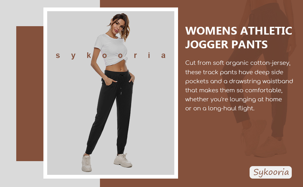 Sykooria Women's Jogger Pants Athletic Sweatpants Active Yoga Lounge Drawstring Workout Running Sports Trousers with Pockets 10