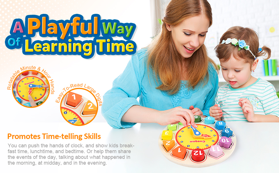 Minute hour time-telling pre-kindergarden game wood manupulative matching boys girls