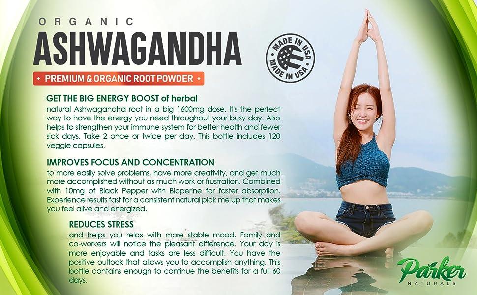 Organic ashwagandha herbal root powder improves focus and concentration
