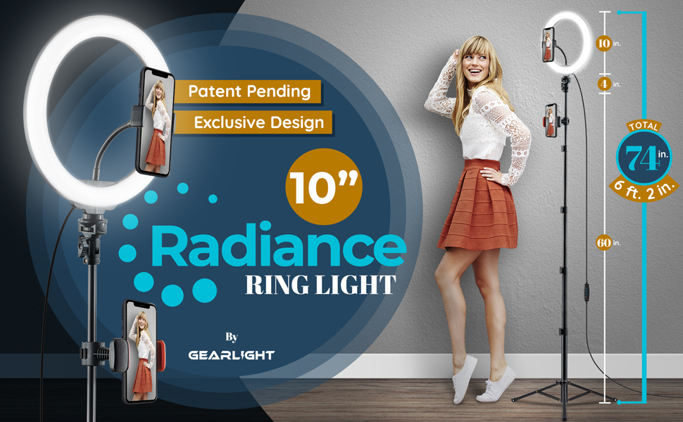 10-in ring light 74 inches tall