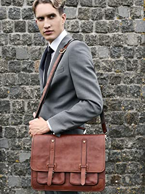 leather bag briefcase Italian laptop messenger briefcases legal satchel computer portfolio business