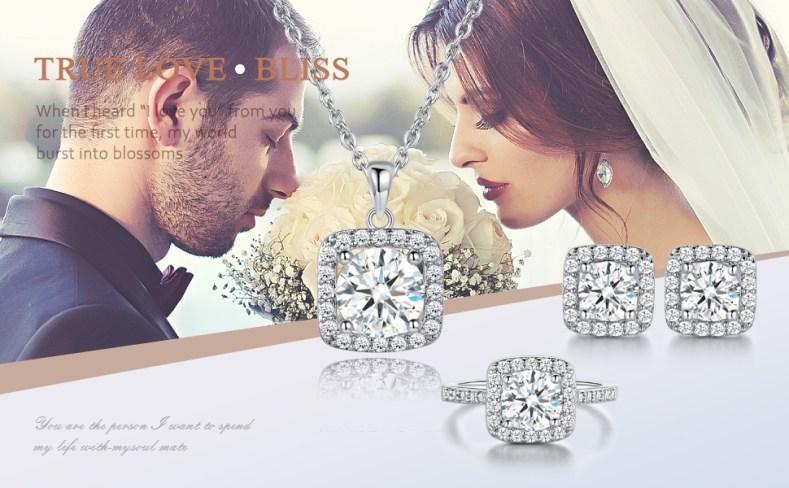 wedding jewelry set,engagement jewelry set,necklace earrings rings jewelry set,white gold women set