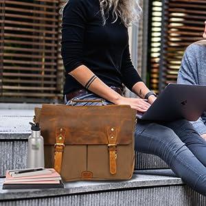 Messenger Bag Waterproof Vintage Genuine Leather Canvas Briefcase Large Satchel Shoulder Laptop Bag