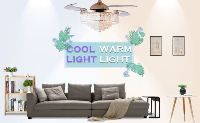 Retractable Crystal Ceiling Fan with Light