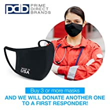 USA Black Cotton Cloth Face Mask Reusable Washable Breathable Comfortable First Responder