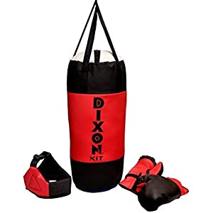 Toyshine Dixon Kids Polyester Boxing Kit with Gloves and Head Guard, Medium (30 Inches) , Red