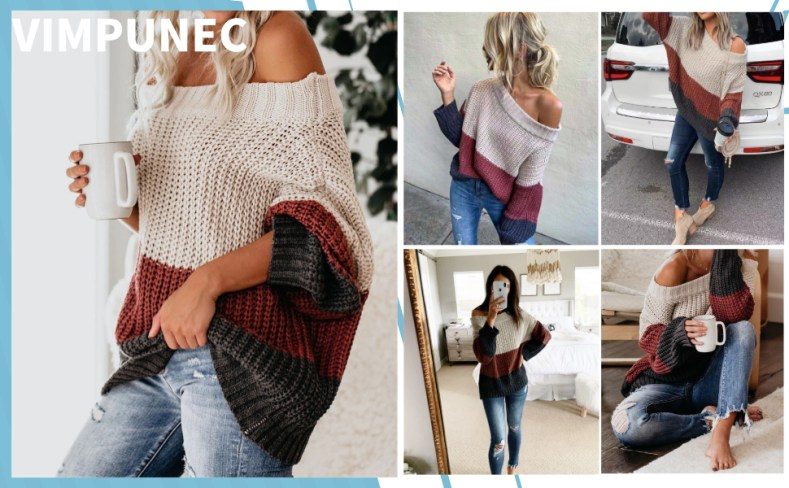 Oversized Sweater Color Block Off The Shoulder Pullover Sweaters Cable Knit Chunky Striped Tops