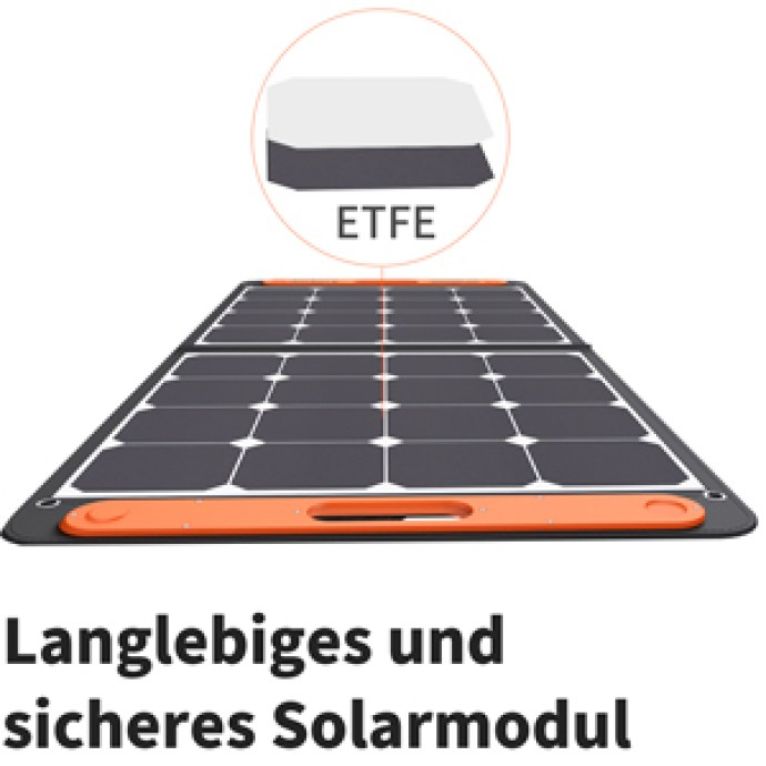 Jackery SolarSaga 100 mit robuster Oberfläche aus ETFE-Material für hohe Lichtdurchlässigkeit