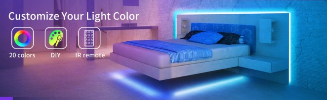 Color Changing strip light shows RGB (Red, green, blue), white and DIY colors. Romantic festival