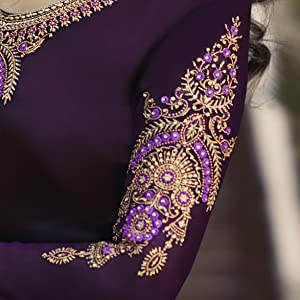 sleeves embroidered satin georgette straight salwar suit semi stitched fabrics