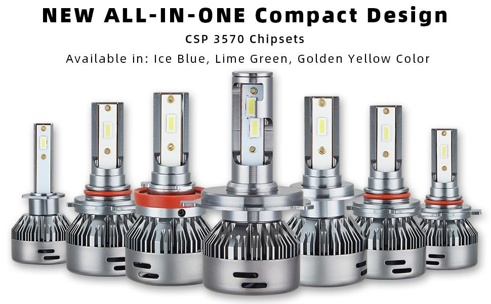 ALL-IN-ONE Compact design led conversion headlight fog light drl daytime running light kit bright
