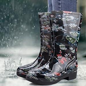 Rain Boots for Women Floral Print Mid Calf Slip on Water Shoes Outdoor Garden Waterproof Work Bootie