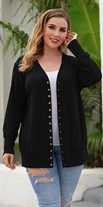 Women Plus Size Black Long Cardigans