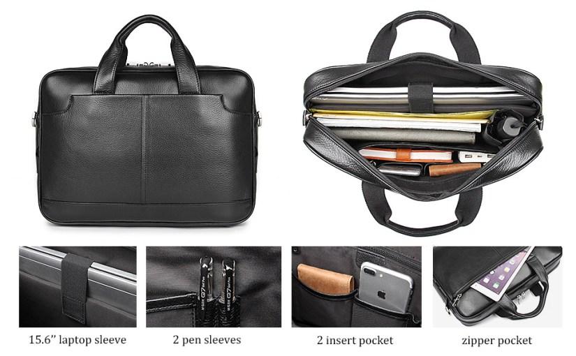 leather briefcases for men mens briefcase 15.6 inch laptop bag Leather messenger bag for men leather