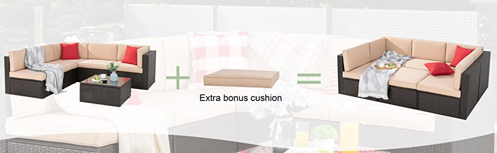 Offer extra seat cushion to change the sofa to a day bed
