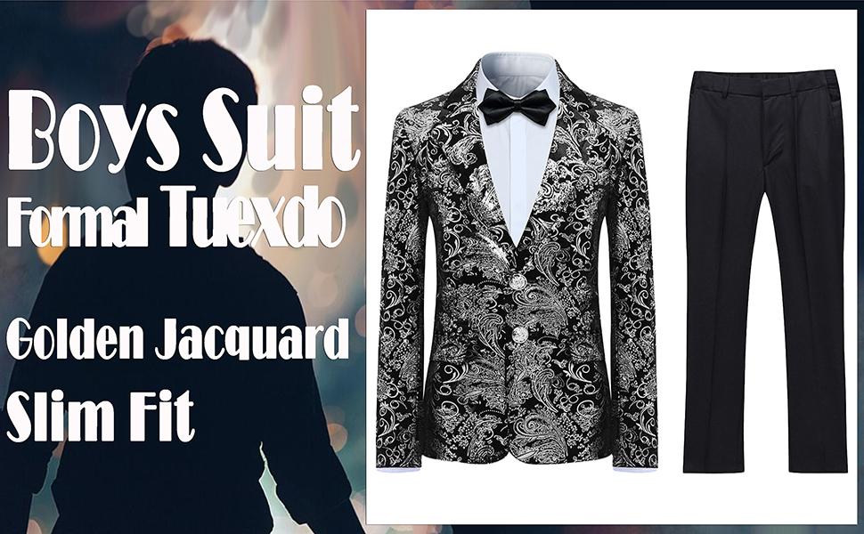 Boys Suit Formal Tuexdo Golden Jacquard Slim Fit 2 Pieces Suit Set Jacket Pants for Wedding Party