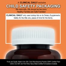 CLINICAL DAILY COMPLETE Whole Food Liquid Multivitamin Capsules baby proof child proof lid safety