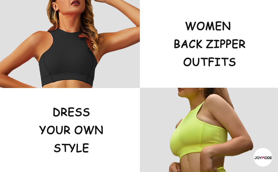 back zipper outfits sleeveless crop tank top