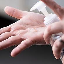 Gel Hand Sanitizer on Hands