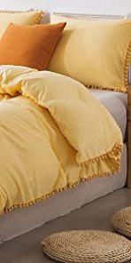 Yellow Pom Pom Duvet Cover Set
