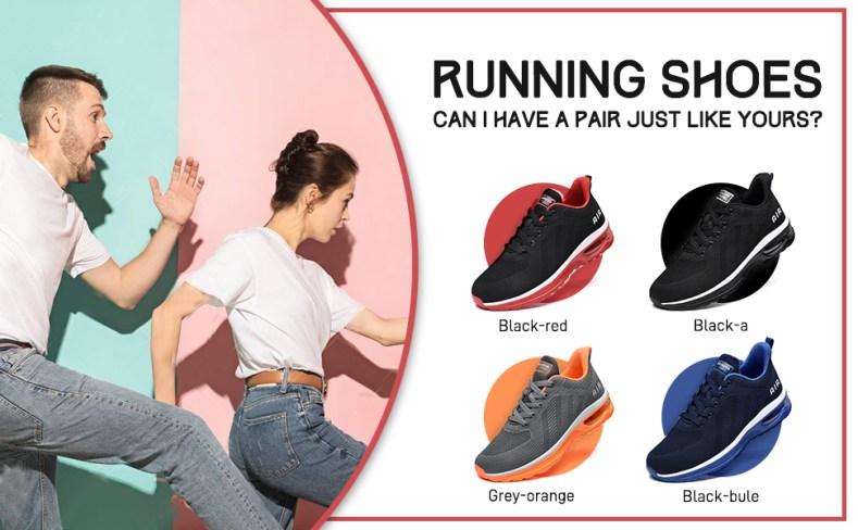 wide sneakers 4 colors Black-red, black, gray-orange, royal-blue