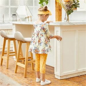Toddler Baby Girl Clothes Floral Ruffle T-Shirt Tops Pants Trouser
